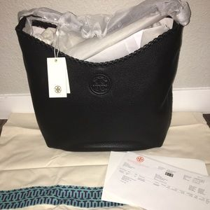 NWT Authentic Tory Burch Black Leather Hobo bag